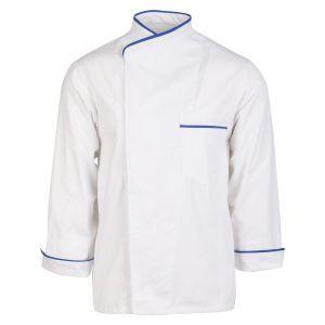 Λευκό μακρυμάνικο σακάκι με μπλε ρέλι
